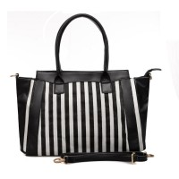 QQ1735 Black - Black & White Stripes Women Handbag Shoulder Bag