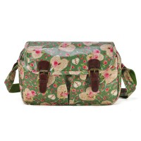 QQ1937 Green - New Look Floral Pattern Oilcloth Satchel Messenger Bag With Belt Buckle