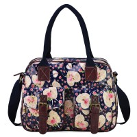 QQ1982 Dark Blue - Fashion Design Floral Print Oilcloth Satchel Messenger Bag With Heart-shaped Pattern