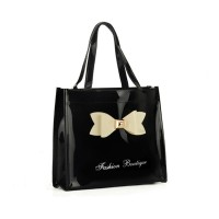 QQ2021-2 Black - Contrast Color Design Bowknot Decoration Patent Women Handbag