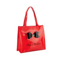 QQ2064-5 Red - Boutique Glossy Shopper Bag Handbag with Zip