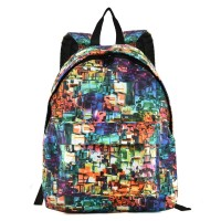QQ2091 Assorted Color - Fashion Geometric Print Oxford Backpack School Rucksack