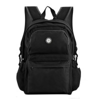 QQ2013-1 Black - Simple Solid Travel Oxford Backpack School Rucksack
