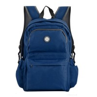 QQ2013-1 Navy - Simple Solid Travel Oxford Backpack School Rucksack