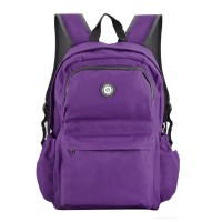 QQ2013-1 Purple - Simple Solid Travel Oxford Backpack School Rucksack