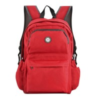 QQ2013-1 Red - Simple Solid Travel Oxford Backpack School Rucksack