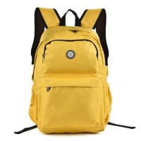 QQ2013-1 Yellow - Simple Solid Travel Oxford Backpack School Rucksack