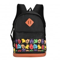 QQ2116 Assort colour - Colorful Face Patterns Student Backpack School Bag