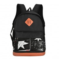 QQ2117 Black - Casual Star Pattern Student Backpack School Bag