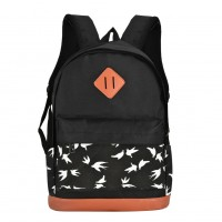 QQ2122 Black - Student Swallow Pattern Casual Solid Backpack School Bag