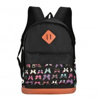 QQ2123 Black - Student Butterfly Pattern Casual Solid Backpack School Bag