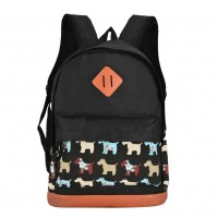 QQ2124 Black - Student Puppy Pattern Casual Solid Backpack School Bag