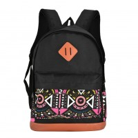 QQ2125 Black - Student Fashion Solid Backpack School Bag