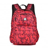 QQ2143 Red - Simple Travel Oxford Camouflage Backpack School Rucksack