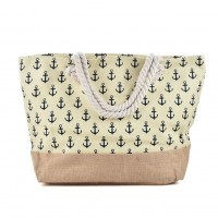 QQ2144 Beige - Anchor Pattern Large Patchwork Handbag