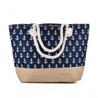 QQ2144 Navy - Anchor Pattern Large Patchwork Handbag