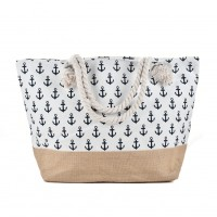 QQ2144 White - Anchor Pattern Large Patchwork Handbag