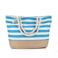 QQ2145 Blue - Stripes Anchor Pattern Large Patchwork Handbag