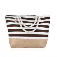 QQ2145 Coffee - Stripes Anchor Pattern Large Patchwork Handbag