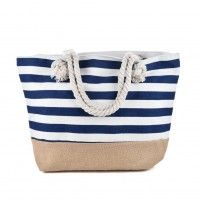 QQ2145 Navy - Stripes Anchor Pattern Large Patchwork Handbag