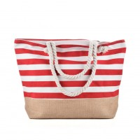 QQ2145 Red - Stripes Anchor Pattern Large Patchwork Handbag