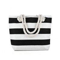 QQ2146 Black - Stripes Pattern Large Handbag