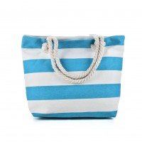 QQ2146 Blue - Stripes Pattern Large Handbag