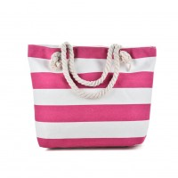 QQ2146 Fushia - Stripes Pattern Large Handbag