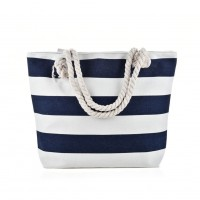 QQ2146 Navy - Stripes Pattern Large Handbag