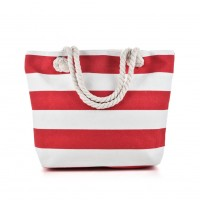 QQ2146 Red - Stripes Pattern Large Handbag