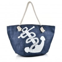QQ2147 Blue - Weave Anchor Pattern Large Handbag