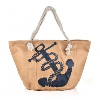 QQ2147 Khaki - Weave Anchor Pattern Large Handbag