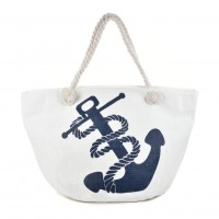 QQ2147 White - Weave Anchor Pattern Large Handbag
