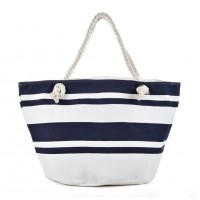 QQ2148 Navy - Large Stripe Pattern Handbag