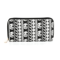QQ2163 L - Elephant Pattern Casual Long Wallet