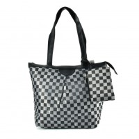 QQ2165 Black - Checked Shopper Bag With Coin Purse