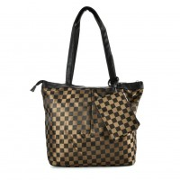 QQ2165 Coffee - Checked Shopper Bag With Coin Purse