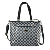 QQ2169 Black - Checked Shopper Bag With Shoulder Strap