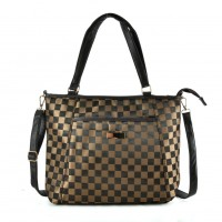 QQ2169 Coffee - Checked Shopper Bag With Shoulder Strap