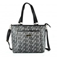 QQ2170 Black - Large Shopper Bag With Shoulder Strap