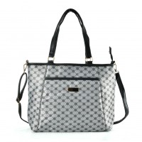QQ2172 Black - Large Shopper Bag With Shoulder Strap