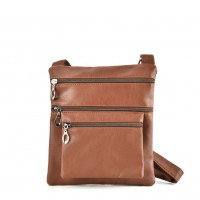 QQ2173 Brown - Fashion Zip Detail Cross Body Bag