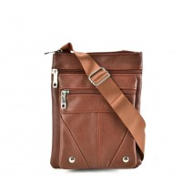 QQ2174 Brown - Fashion Zip Detail Cross Body Bag