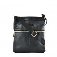 QQ2175 Black - Fashion Zip Detail Cross Body Bag