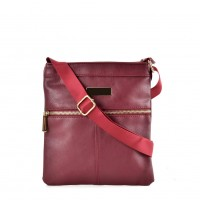 QQ2175 Red - Fashion Zip Detail Cross Body Bag