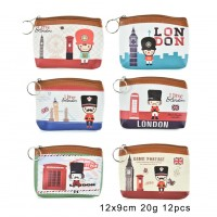 QQ2176 Assort Color 12pcs - Cartoon Mini UK Style Coin Purse