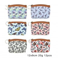 QQ2179 Assort Color 12pcs - Cartoon Mini Butterfly Print Coin Purse