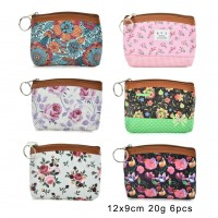 QQ2180 Assort Color 12pcs - Cartoon Mini Floral Print Coin Purse