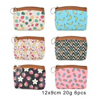 QQ2185 Assort Color 12pcs - Cartoon Mini Fruit Print Coin Purse