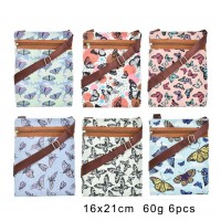 QQ2188 Assort Color 12pcs - Cartoon Cute Butterfly Printed Cross Body Bag